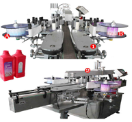 Double side flat bottle labeling machine